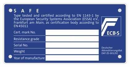 seif certificat EN 1143